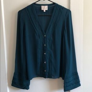 100% silk button up blouse